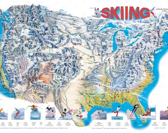 Skiing of North America Wall Map