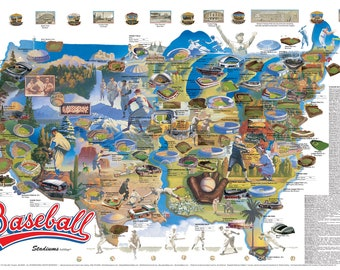 Baseball Stadiums Wall Map © 1987-2020