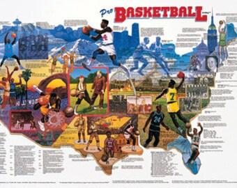 Pro Basketball Wall Map