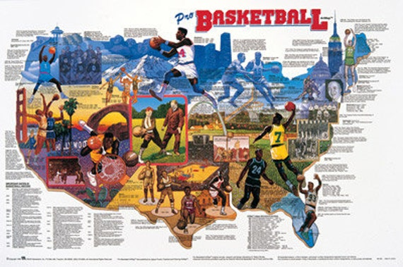 Pro Basketball Wall Map Poster