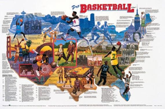 Pro Basketball Wall Map Poster | Etsy