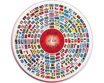 """238 Flags of the World, 19"""" Round 500-Piece Puzzle in Decorated Tin"""