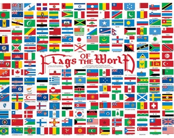 238 Flags of the World Wall Map
