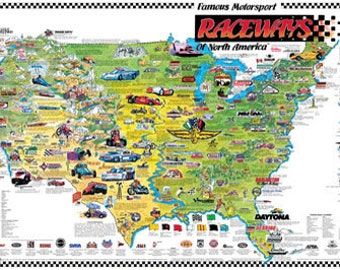 Famous Motorsports Raceways of North America Wall Map © 1987