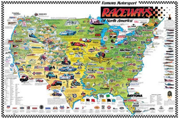 Famous Motorsports Raceways of North America Wall Map Poster c.1987