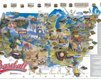 baseball stadiums wall map archival edition 2018