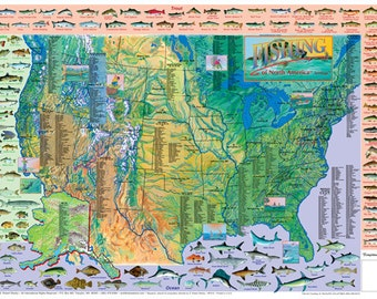 Game Fish of North America Wall Map