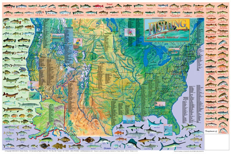 Game Fish of North America Wall Map Poster   Etsy