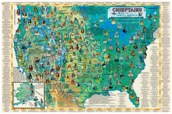 Chieftains of North America Wall Map Poster | Etsy