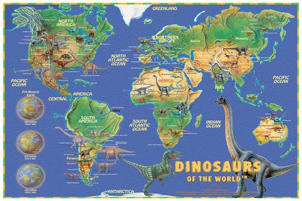 Dinosaurs of the World Wall Map Poster | Etsy