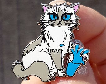 Cat ENAMEL PIN - Collectible custom made limited edition hard enamel pin of a cat knocking a glass of water