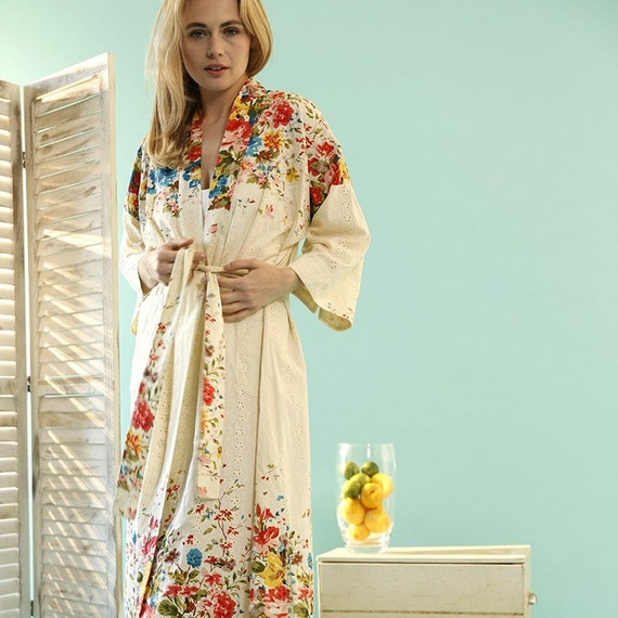 Orchard Blossom Kimono Dressing Gown Organic Cotton Etsy
