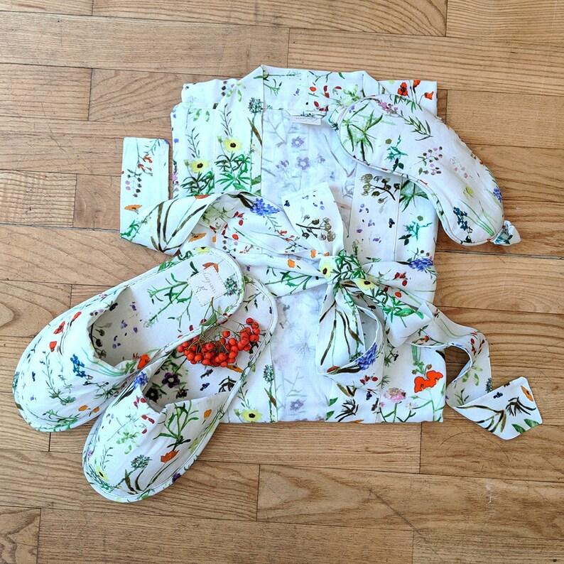 WILDFLOWER CREAM Kimono slipper /& Eye mask Set