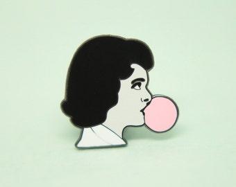 SALE! Bubblegum Girl Pin, Hard Enamel, Enamel Pin, Lapel Pin, Pin Badge, Flair, Brooch, Badge, Collar Pin