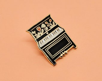 Piano Enamel Pin | Hard Enamel, Enamel Pin, Lapel Pin, Flair, Instrument Pin, Musician Pin, Music Pin, Gift for Musician, Music Gifts