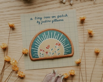 Sun and Rosas Tiny Iron-On Patch | Iron on patch, Iron on patch flower, Patch, Patches, Patches for jackets, Patch for backpack