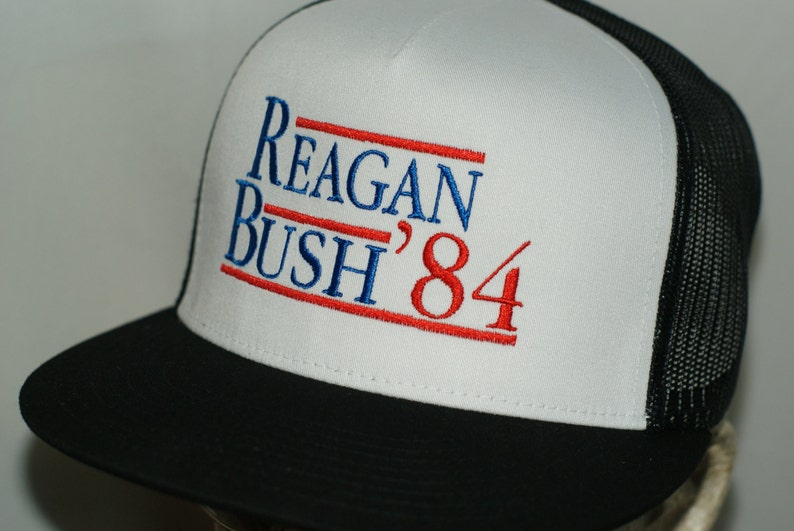 5e763813e Reagan Bush '84 Hat 1984 Campaign Ronald George