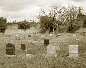 Cemetery Morning sepia 5x7