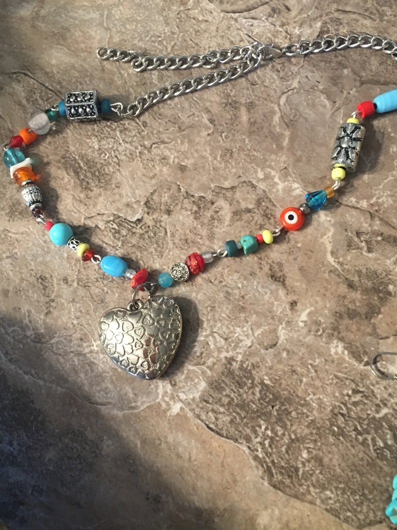 Bright Festival Beads and Chunky Silver Heart Necklace