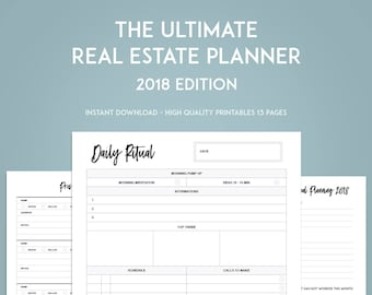 2018 Real Estate Planner Goal Setting Printables - INSTANT DOWNLOAD - Real Estate agent goal tracker - Prospecting sheets-Open house sign-in