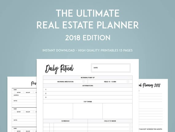 2018 real estate planner goal setting printables instant etsy