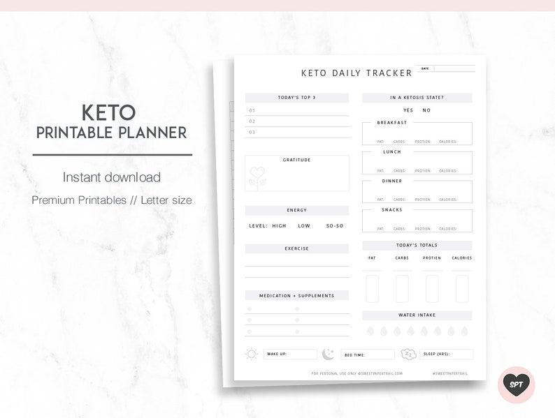 graphic about Printable Weight Loss Journal titled KETO PLANNER - Body weight reduction planner - Exercise Planner - Keto printable - Keto Magazine