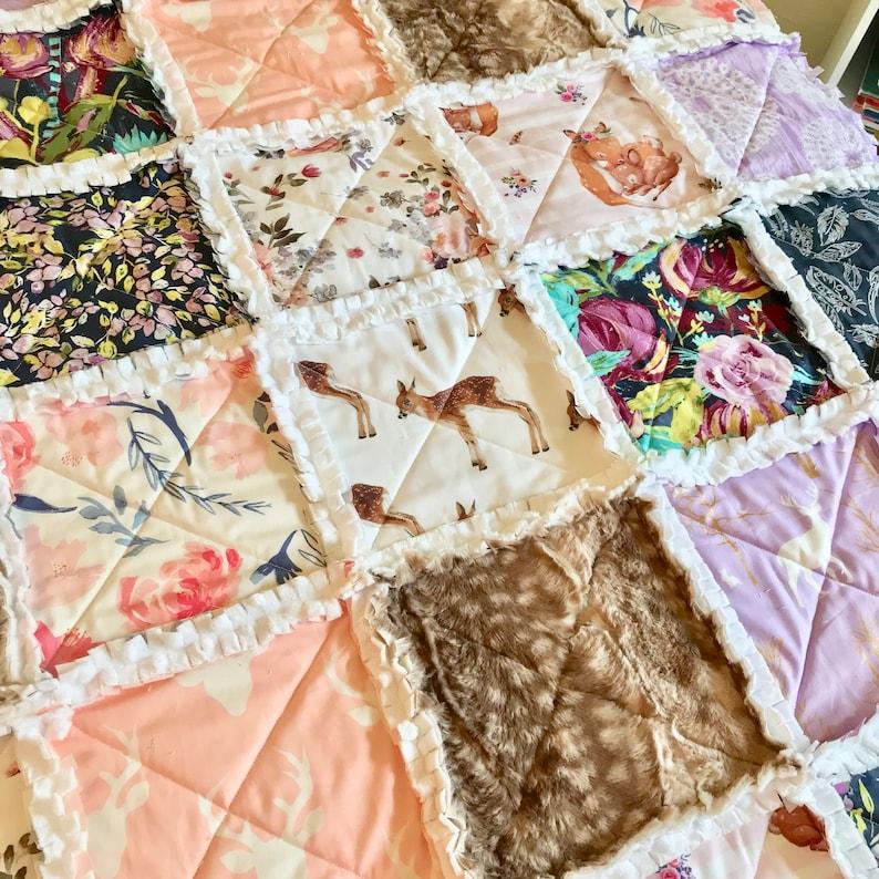 Woodland Crib Bedding Girl Rag Quilt Fawn Lavender Pink Navy Aqua Deer Gold Arrows  Baby Quilt Girl Boho Baby Blanket Floral Crib Bedding
