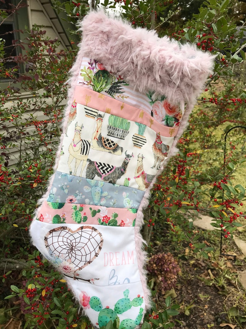 Llama Christmas Stocking.Llama Christmas Stocking Llamas Girl Pink Gray Black Succulents Cactus Roses Brown Boho Arrows Patchwork Rag Quilts Christmas Gifts