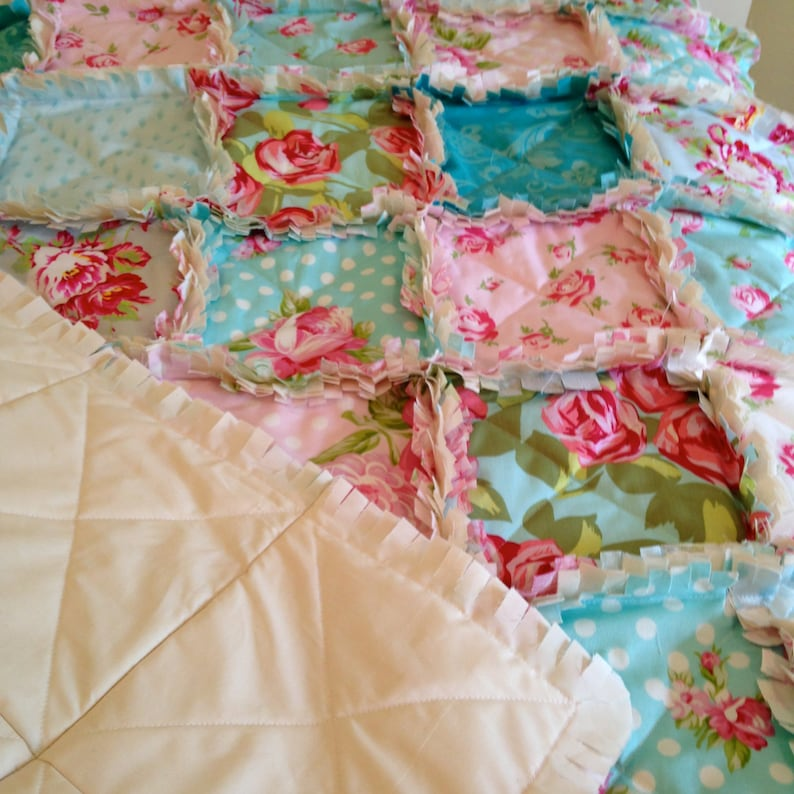Turquoise Roses Baby Quilt Shabby Roses Baby Girl Crib Bedding Blue Red Baby Rag Quilt Baby Quilt Baby Girl Crib Rag Quilt Pink Aqua