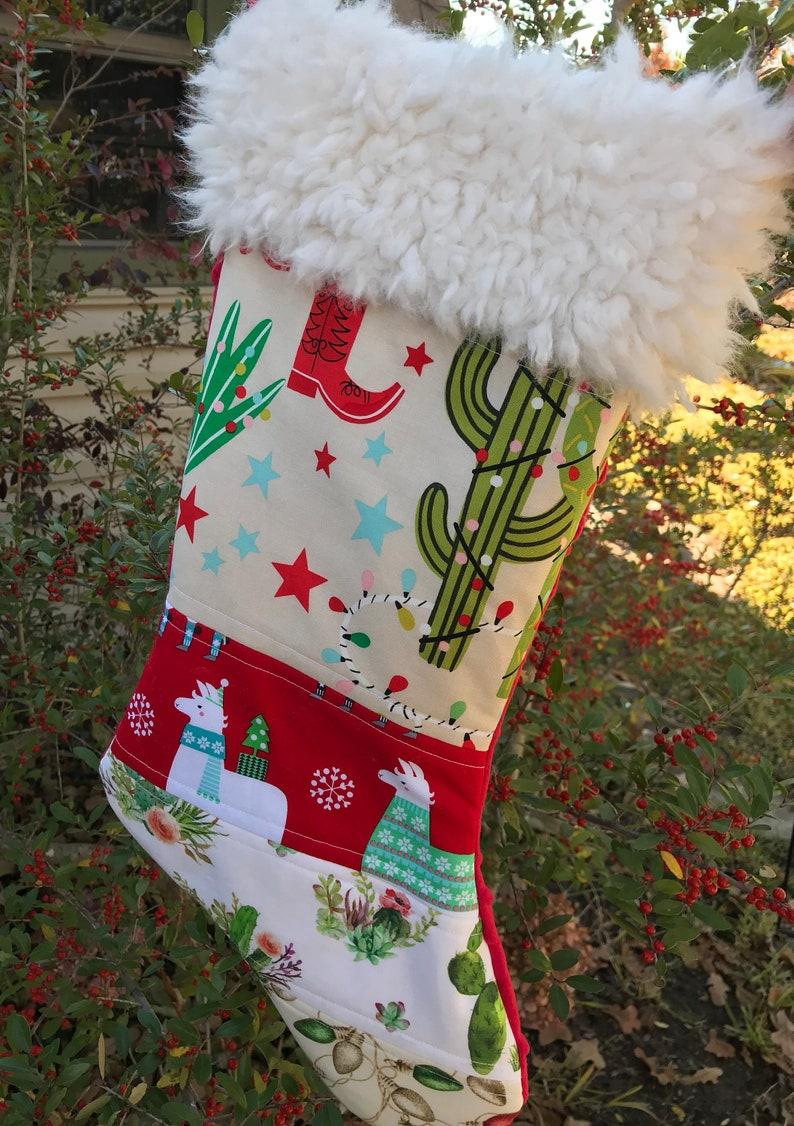 Llama Christmas Stocking.Llama Christmas Stocking Girl Cactus Boots Desert Aqua Christmas Lights Green Patchwork Housewarming Gifts Southwest Boho