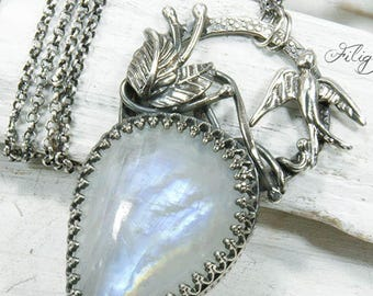 Rainbow Moonstone, 935 Silver Botanical, Swallow Necklace