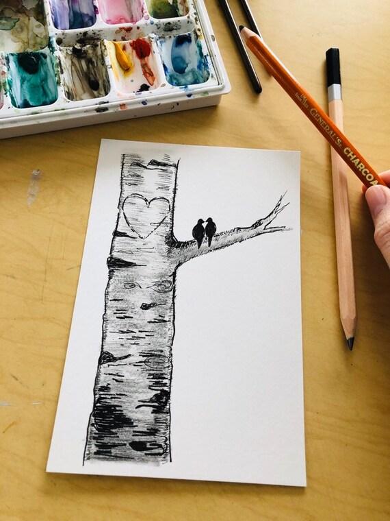 Original Artwork Illustration Drawing Love Birds Aspen Birch Etsy