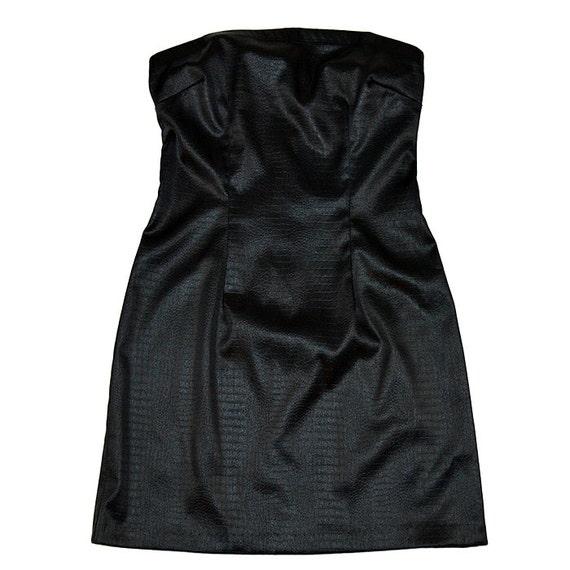 Strapless vegan leather dress