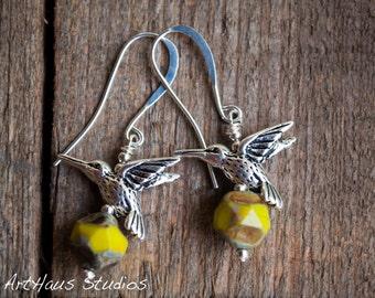 Yellow hummingbird earrings, hummingbird jewelry, silver hummingbird, yellow earrings, nature jewelry, bird earrings, silver and yellow