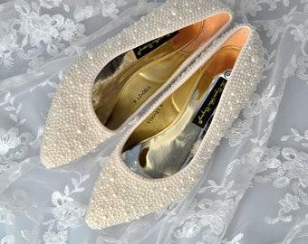 1ffd82e369aea6 Swarovski pearl ivory cream encrusted wedding Bridal low heel pointed court  shoe heels