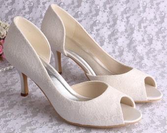 6fa3d54f924 Custom silver Lace Bridal wedding satin Peeptoe dorsay low mid heels - 14  colours!