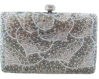 Swarovski ELEMENTS leaf Patterned Silver White Mauve Crystal Minaudiere  Metal case rectangle box clutch purse bag 36e638a91b82