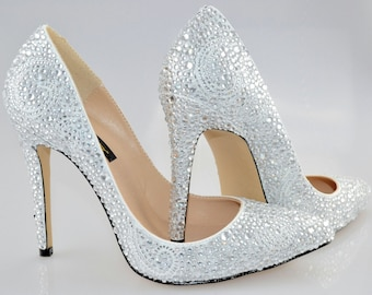 Swarovski Crystal Glitter Bridal High Heel Stiletto Corset Luxury White  Leather Pump ee9e4a9a5b