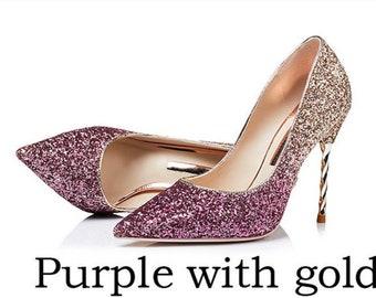 e7df3a3cc3ae Glitter Mid Heel Ombre Stiletto Luxury sparkle Red