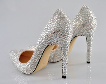 ffa18685279 Swarovski Crystal Glitter Silver Nude Custom Bridal High Heel Stiletto  Luxury White Leather Pump