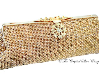a7f3b8df48 Swarovski crystal gold Bridal Wedding Minaudiere diamond soft mesh  rectangle clutch purse bag