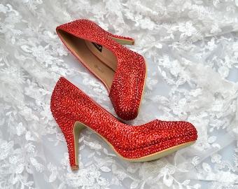 b1a4a4a7c Custom Swarovski Siam bright dorothy Red crystal encrusted embellished  wedding Bridal round toe platform mid heel court pump shoes