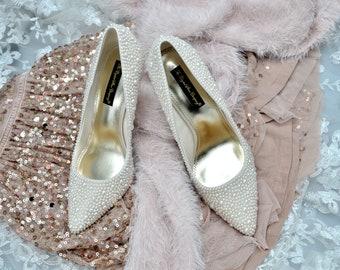 ab9735a88c6 Swarovski pearl ivory cream encrusted wedding Bridal high heel pointed  court shoe heels