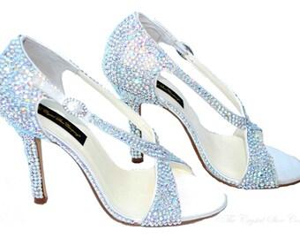 0c5aa7433e11 Swarovski Aurora Borealis Ab crystal wedding bridal peeptoe strappy high  heel sandals - LAST ONE!!!