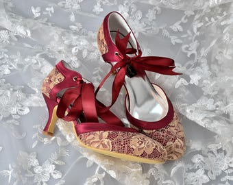 c666c705e Custom handmade vintage gold lace burgundy red satin bow tie front low heel  bridal wedding ankle mary jane dorsay court