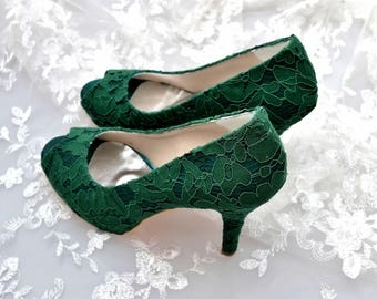 Custom handmade Emerald Dark Green Guipure french Lace Bridal wedding satin peep toe platform pump heel