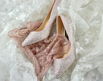 Swarovski Crystal Silver Glitter Bridal Low Heel Luxury Custom dye Pearlescent Blush Pink Pearl Leather Pump
