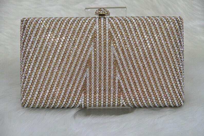Swarovski ELEMENTS Linear pattern Minaudiere Gold White Bridal image 0