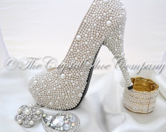 Swarovski pearl ivory cream encrusted wedding Bridal high heel shoe heels