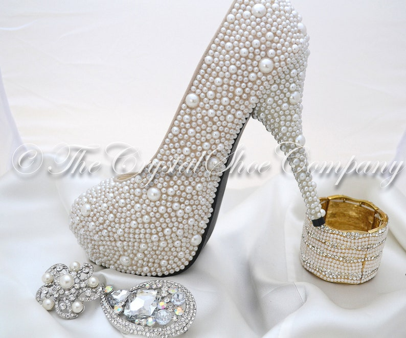 c96b0b81557bea Swarovski pearl ivory cream encrusted wedding Bridal high heel